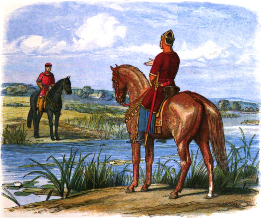 Painting of Henry and King Stephen confer across the Thames by Edmund Evans, 1826-1905