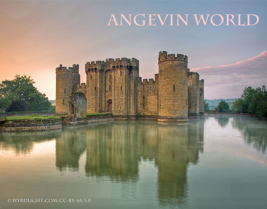 Angevin World banner with Bodiam castle reflected in lake