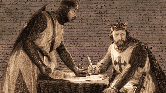Drawing of King John signing the Magna Carta, with the document displayed in the background.