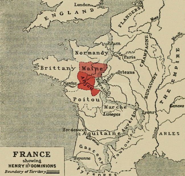 Map of France highlighting the location of the counties of Anjou and Maine.