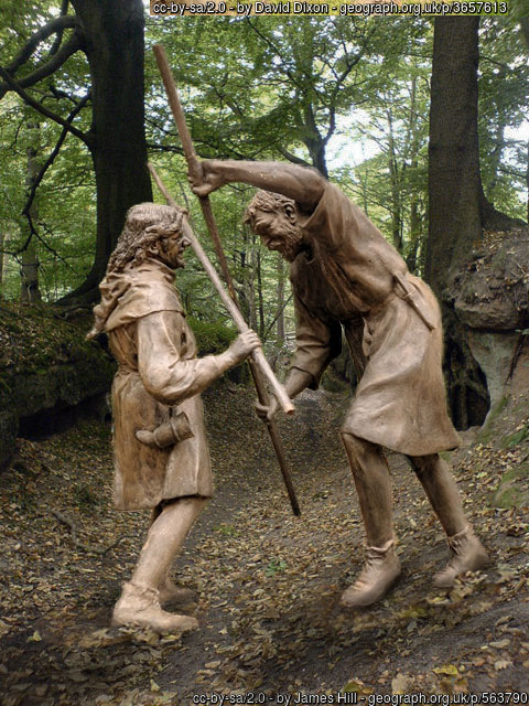 Duel between Robin and Little John in Sherwood Forest