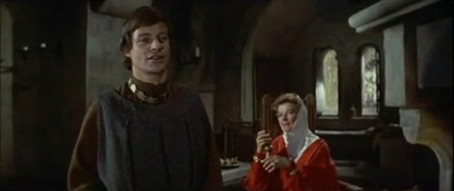 """Geoffrey II, Duke of Brittany and Eleanor of Aquitaine as portrayed by John Castle and Katharine Hepburn in the movie """"The Lion in Winter"""" (1968)"""