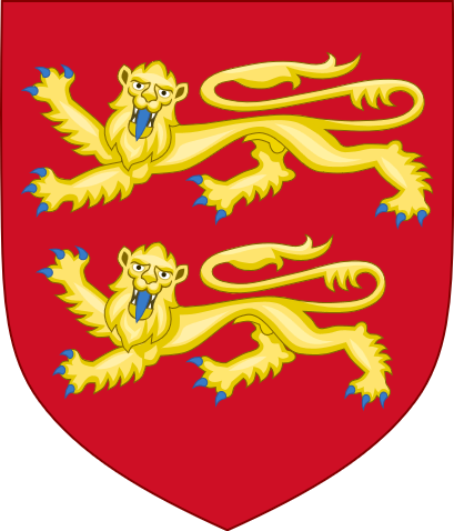 Heraldry of William the Conqueror: Two passant lions on a field of red