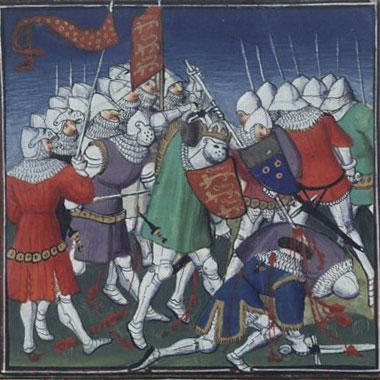 Late medieval picture from the 15th century of the Battle of Tinchebray