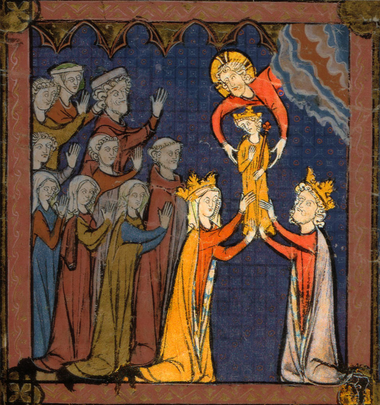 Medieval art depicting Louis VII and Queen Adela receiving Philippe Augustus from Christ