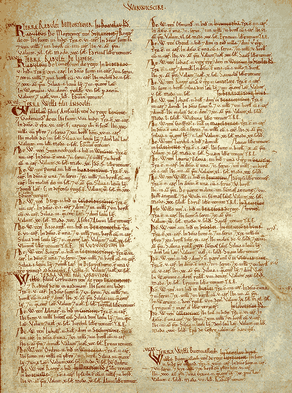 Photo of page from the Domesday Book for Warwickshire