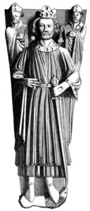 drawing of Effigy of King John on his monument in Worcester Cathedral