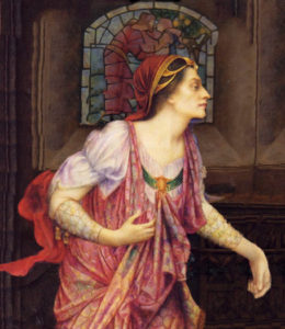 "Detail from ""Queen Eleanor & Fair Rosamund"" (1905), a painting by Evelyn De Morgan"