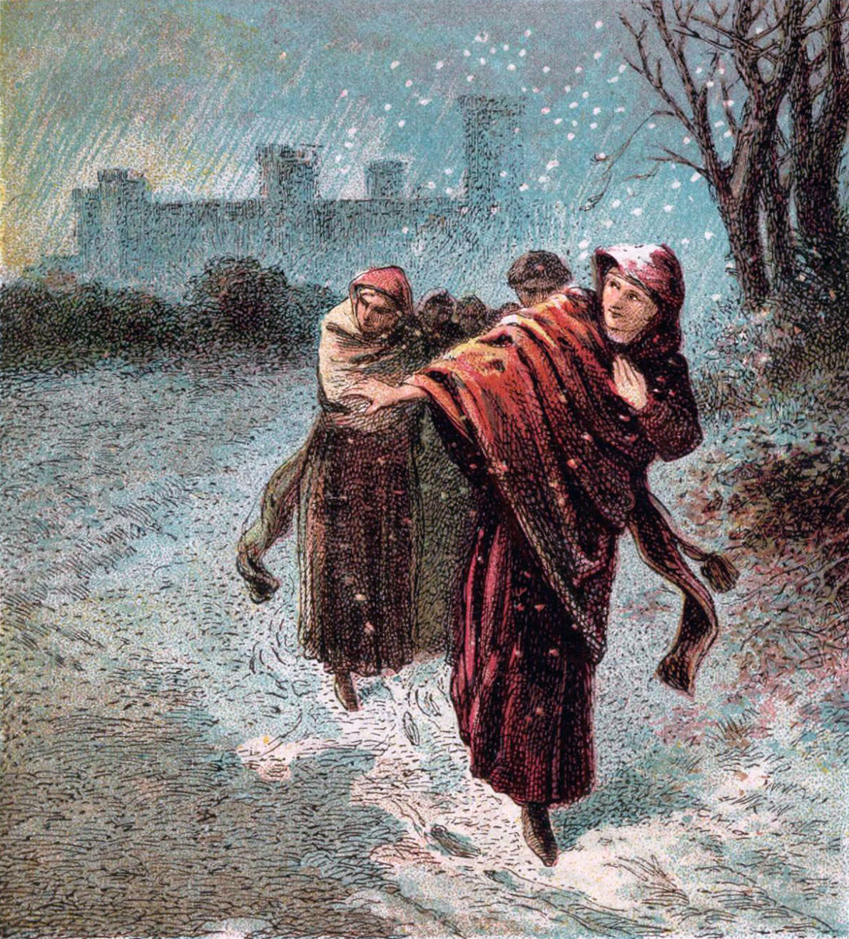 Painting of Empress Matilda escaping Oxford Castle, Christmas 1141 by Joseph Martin Kronheim, 1810-96