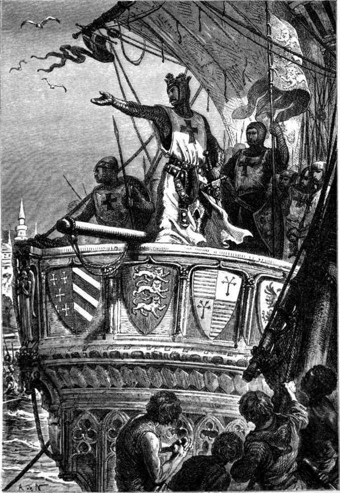 Lithograph: King Richard bids farewell to the Holy Land