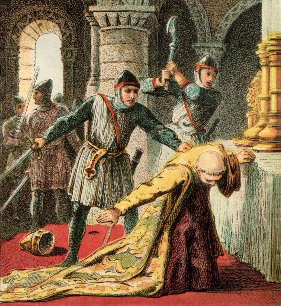 Painting of Murder of Thomas Becket by Joseph Martin Kronheim, 1810-96