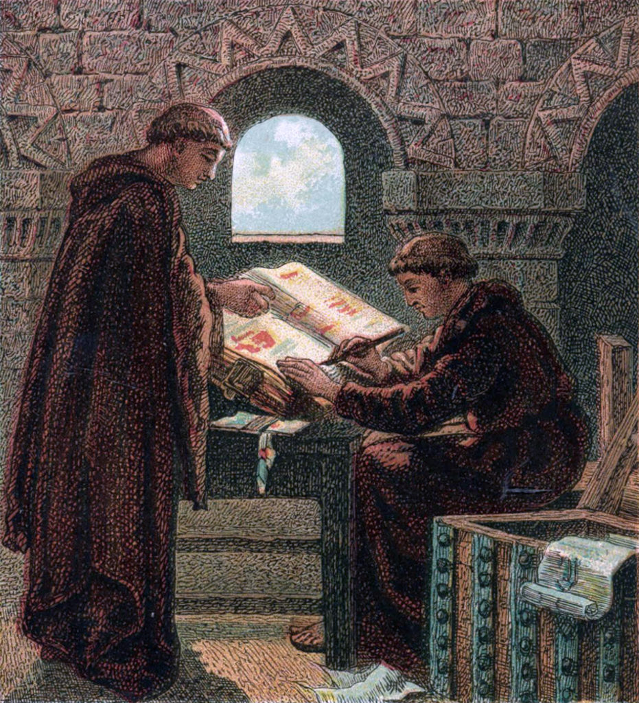 Painting of monks creating the Domesday Book, by Joseph Martin Kronheim, 1810-96
