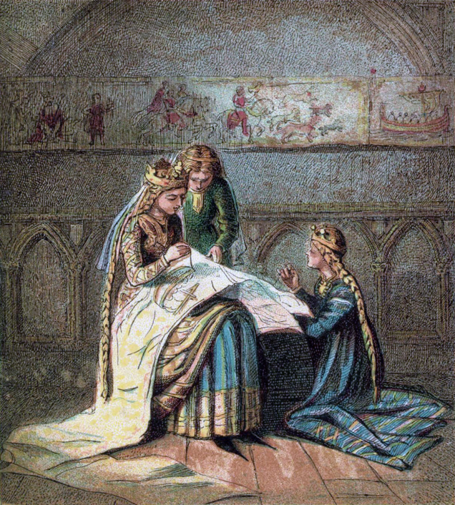 Matilda of Flanders, wife of William the Conqueror, sewing her tapestry, by Joseph Martin Kronheim, 1810-96