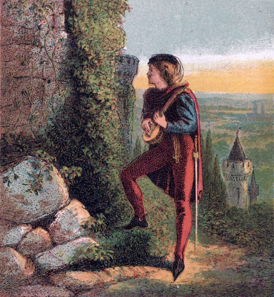 Painting of the Troubadour Blondel at Richard's prison during his captivity by Joseph Marin Kronheim, 1810-96