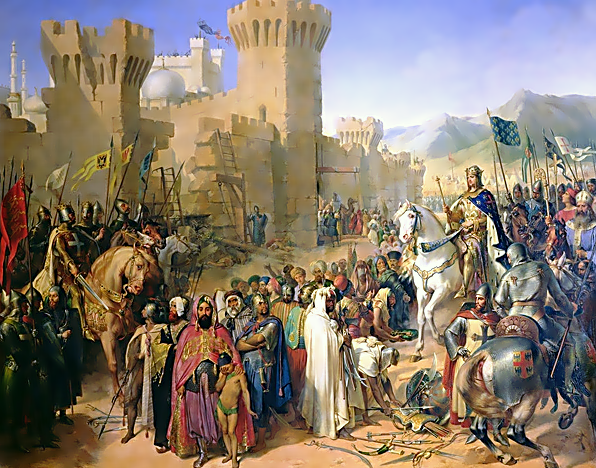 Acre surrenders to King Philippe in a painting which ignores Richard's pivotal role in the victory.