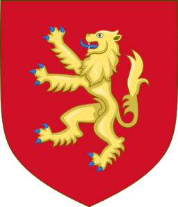 The shield of Henry Plantagenet: a single rampant lion on a field of red.