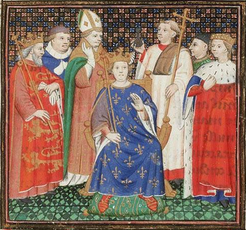 The coronation of Philippe II, with Henry II in attendance