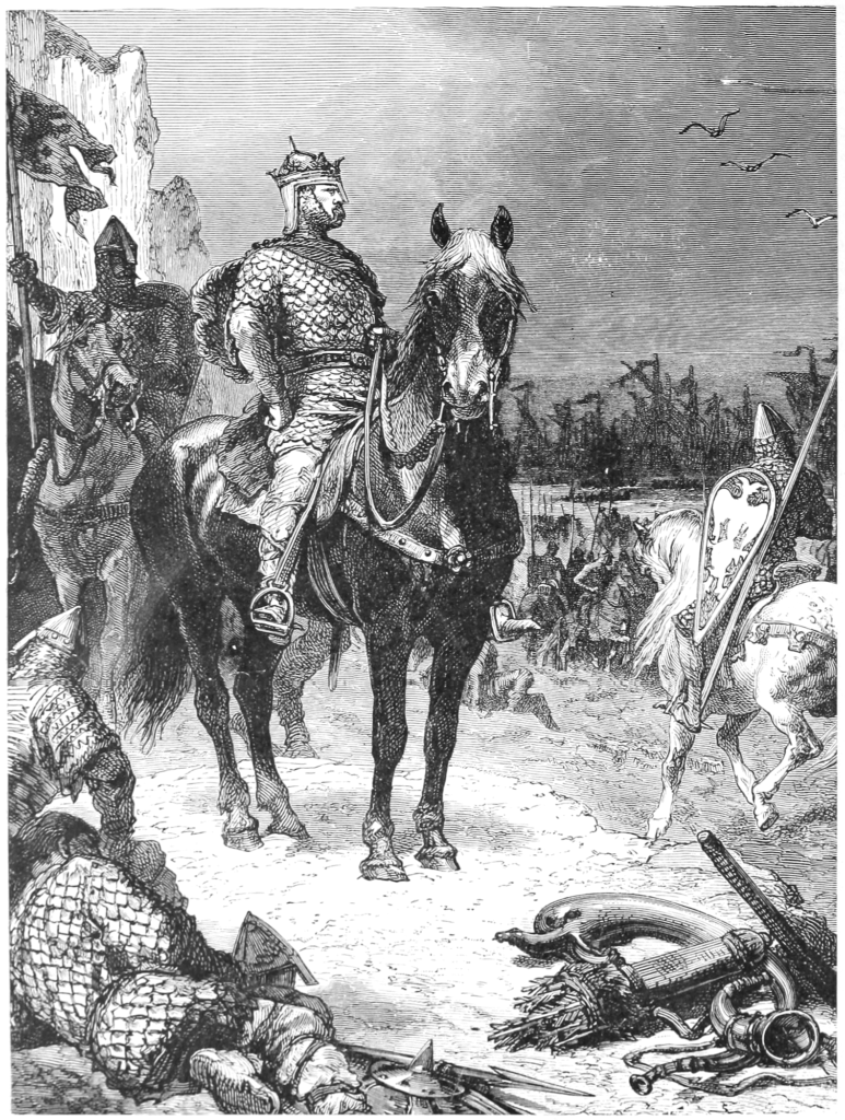 Duke William of Normandy, mounted on a horse, after the victory at the Battle of Hastings