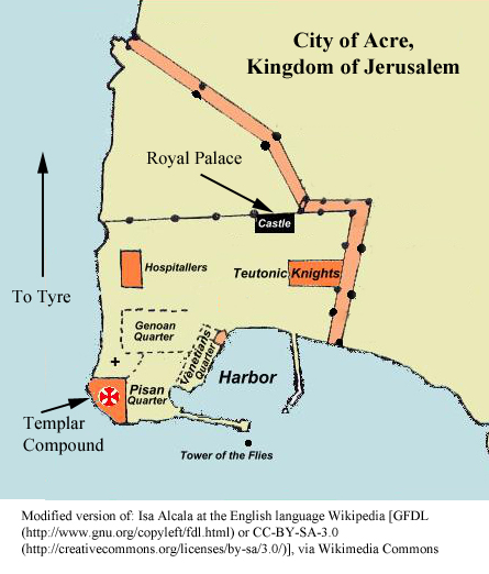 Simplifed diagram of the city of Acre, Kingdom of Jerusalem