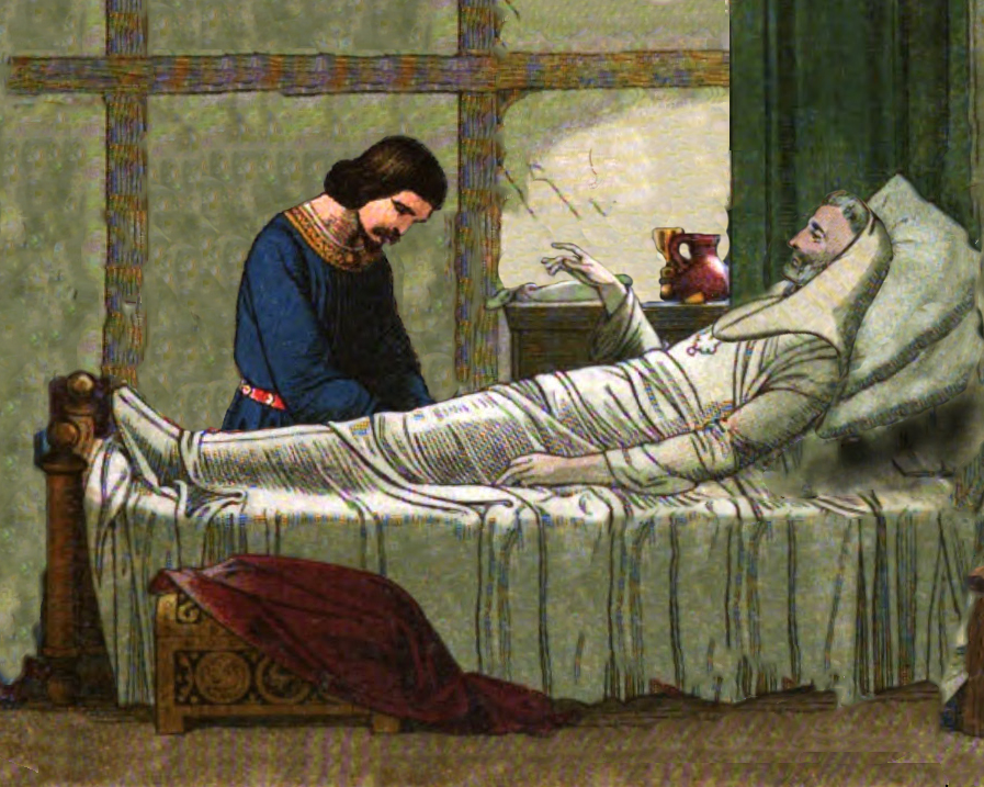 Illustration of King Stephen on his deathbed with his son, William. Based on works by Edmund Evans, 1826-1905