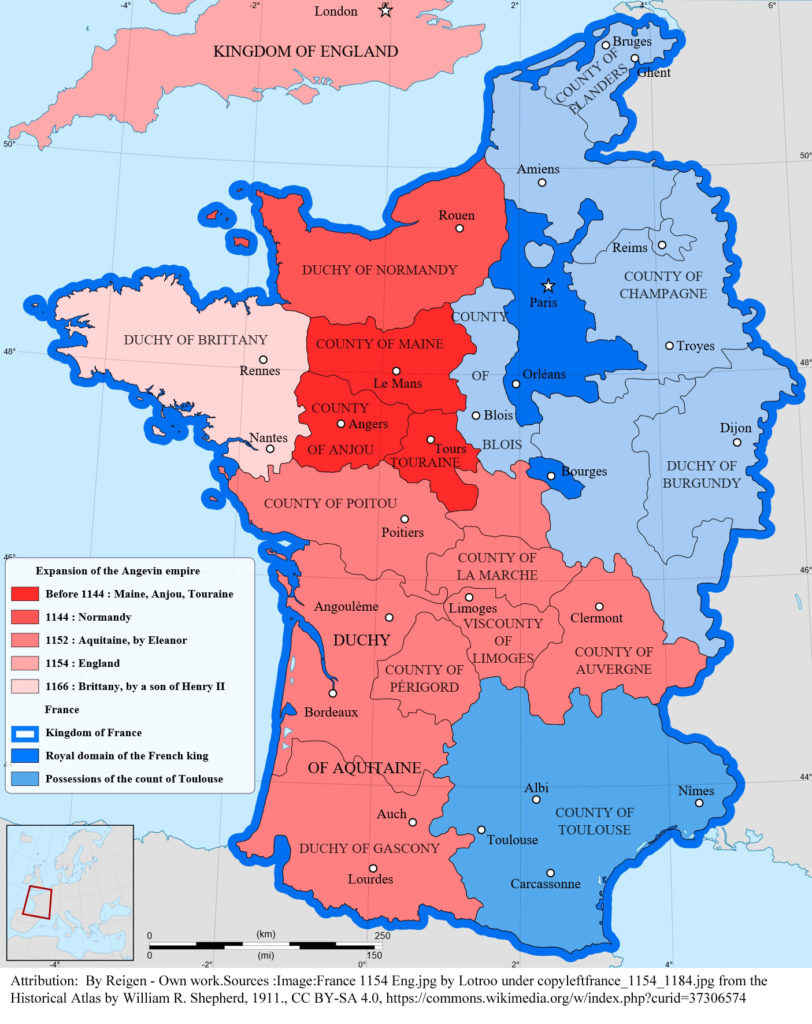 Map showing the extent of the Angevin Empire at its height, circa 1166