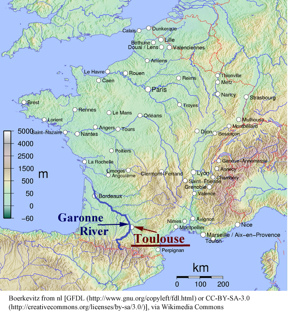 Map of France showing topography