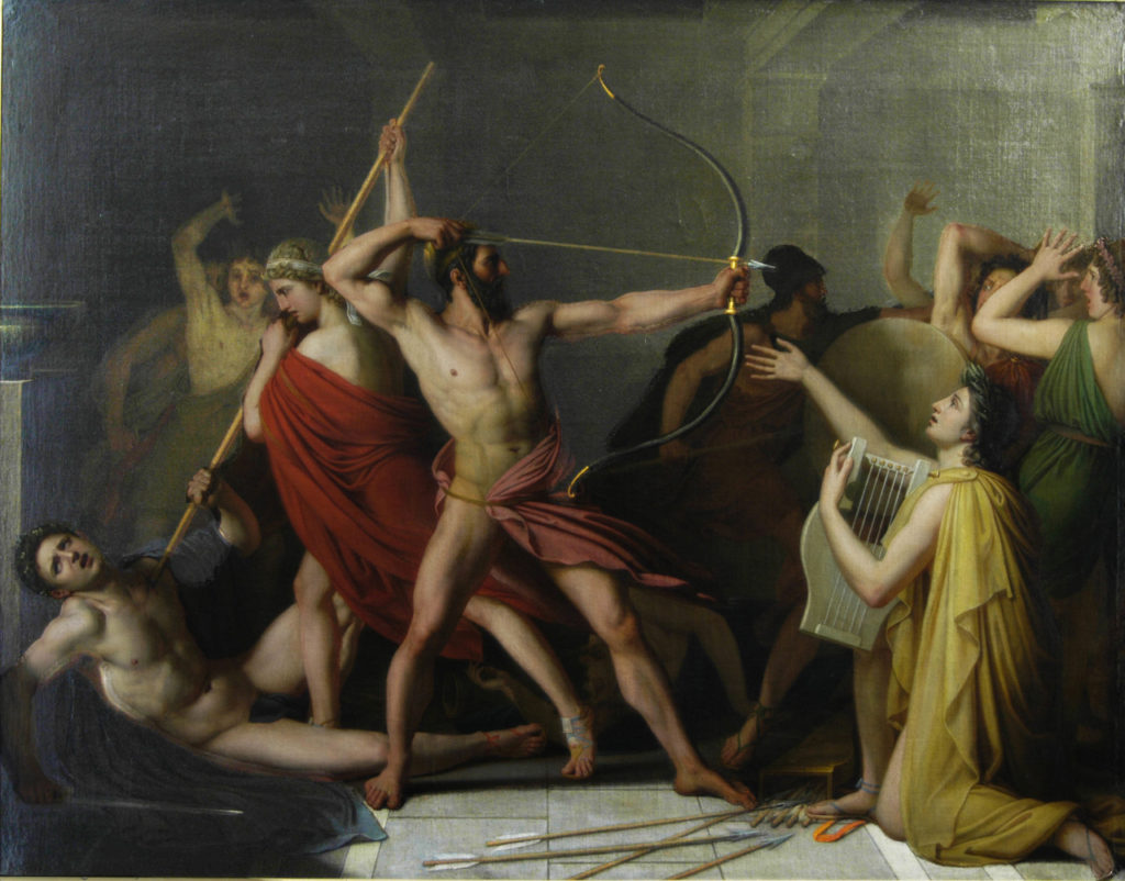 Painting of Odysseus and Telemachus kill Penelope's suitors, 1812, by Thomas Degeorge (1786-1854)