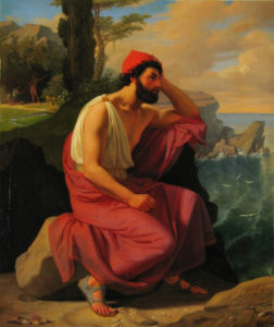 Painting of Odysseus on Calypso's Island, 1830 by Ditlev Blunck (1898-1853)