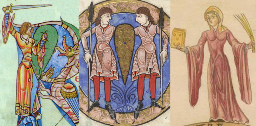 Illustrations showing various styles of 12th century bliauts