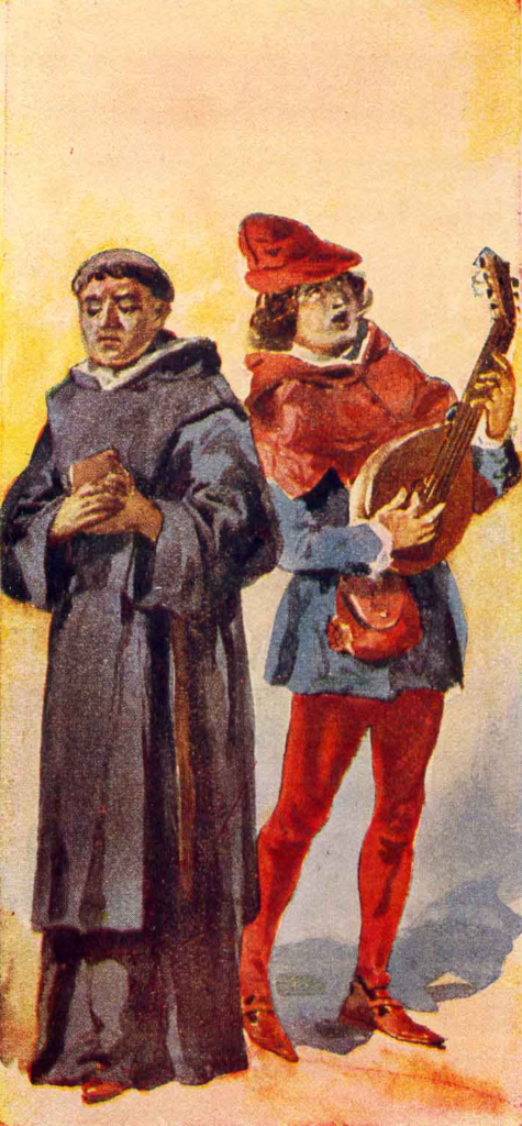 Painting: Friar and Troubadour by Roque Gameiro, 1917