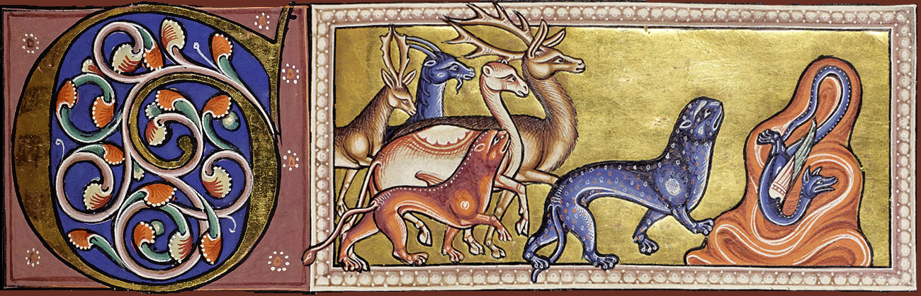 image from Aberdeen Bestiary Illuminated Manuscript, 12th century