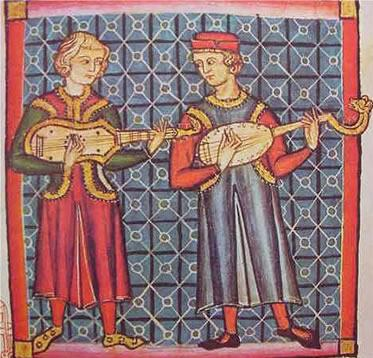 Illustration of minstrels playing lutes