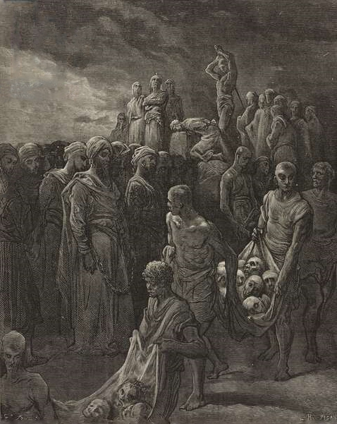 Richard the Lionheart executing the prisoners at Ayyadieh, August 1191, engraving by Gustave Dore