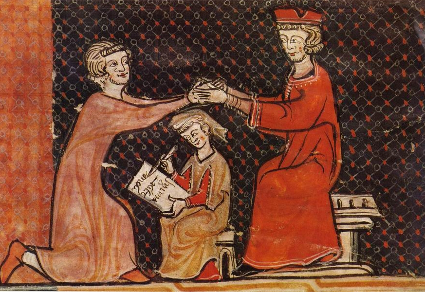Illustration of a man paying homage to a lord to become his vassal