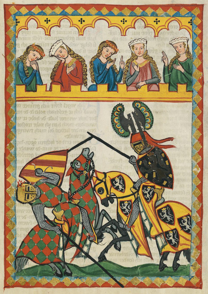 Illustration of a joust, from the Codex Manesse, circa 1305
