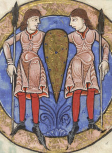 Illustration of men in short bliauts and red chausses, circa 1170