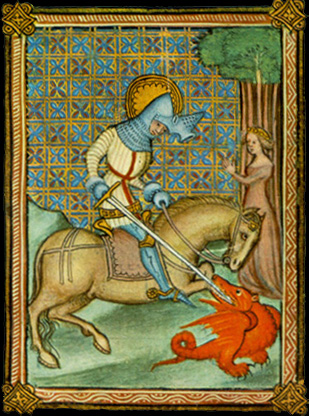 Illustration of Saint George slaying the dragon and rescuing the princess