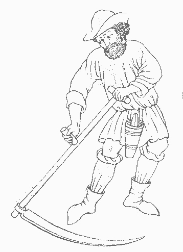 line drawing of a man using a scythe