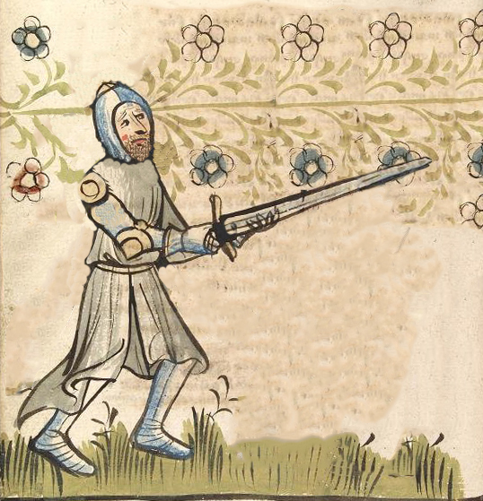 Illustration of a knight wearing a surcoat, circa 1415