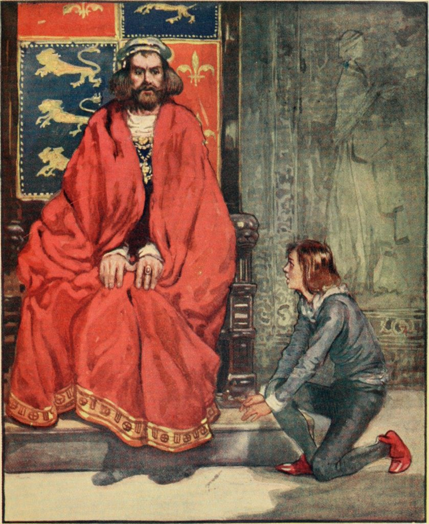 "Illustration from ""An Island Story: A Child's History of England"" 1906 showing a boy telling King Henry I that his son is dead"