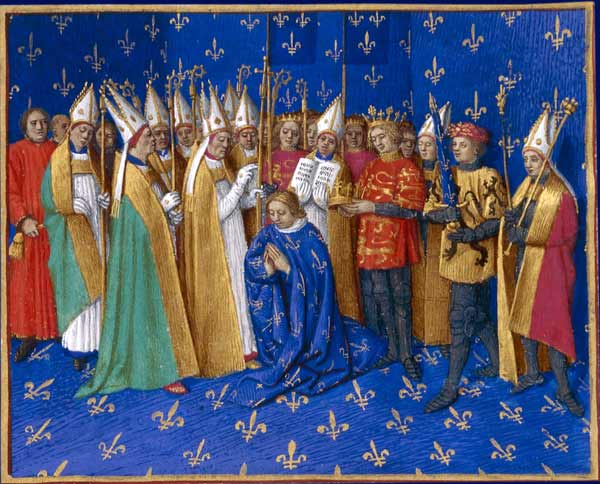 Painting of the coronation of Philippe II of France, including King Henry II of England and his sons.