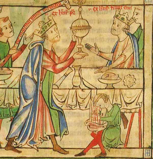 At his coronation banquet, the Young King is served by his father, King Henry II.