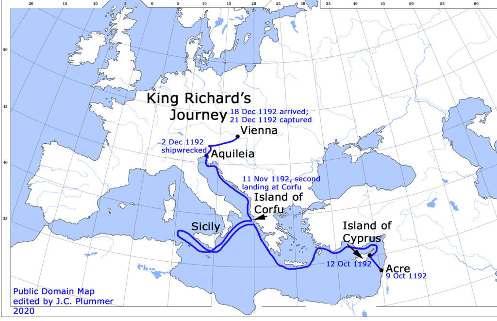 Map of Europe and Mediterranean showing King Richard's journey in late 1192