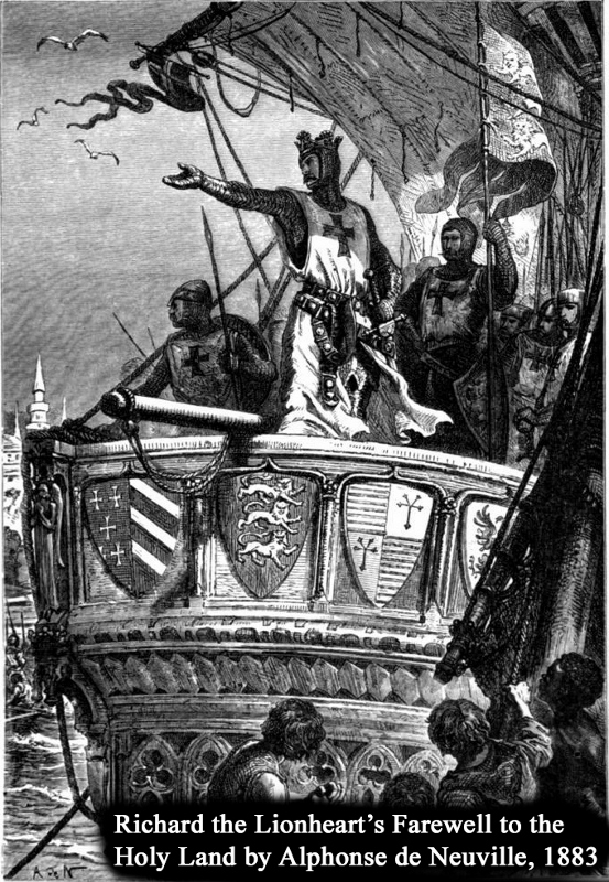 Lithograph of Richard the Lionheart's Farewell to the Holy Land. Engraving by Alphonse de Neuville, 1883